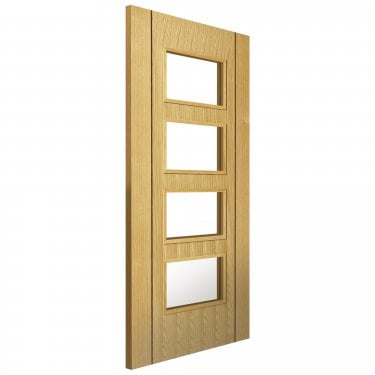 Internal Oak Fully Finished Contemporary Blenheim 4L FD30 Fire Door with Clear Glass (CBLEFD30G)