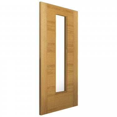 Internal Oak Fully Finished Contemporary Emral 1L Solid FD30 Fire Door with Clear Glass and Raised Mouldings (OEMRFD30)