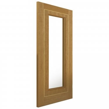 Internal Oak Fully Finished Contemporary Minerva 1L Door with Clear Glass (OMIN)