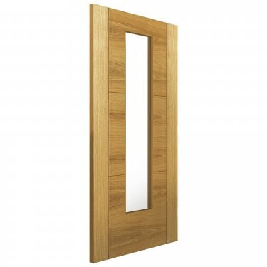 Internal Oak Fully Finished Contemporary Mistral 1L Door with Clear Glass (OMISG)