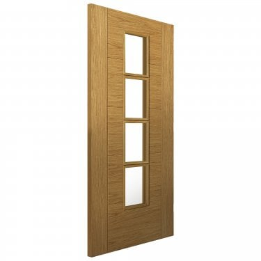 Internal Oak Fully Finished Cottage Bela 4L Solid Door with Clear Glass (OBEL)