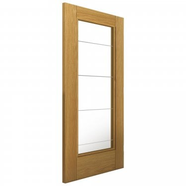 Internal Oak Fully Finished Cottage Medina 1L Solid Door with Clear Diamond Cut Glass (OMEDG)