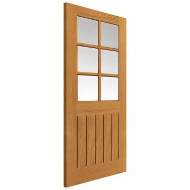 Internal Oak Fully Finished Cottage Tutbury 6L Solid Door with Clear Bevelled Glass (VOTUT)