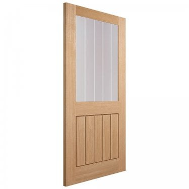 Internal Oak Fully Finished Mexicano 1L Door with Frosted Lined Clear Glass (PFOMEX1L)