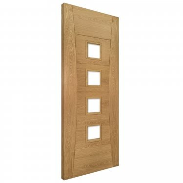 Internal Oak Fully Finished Pamplona 4L FD30 Fire Door with Deanta Fire Glass (PAMPCGF/DXFSC)