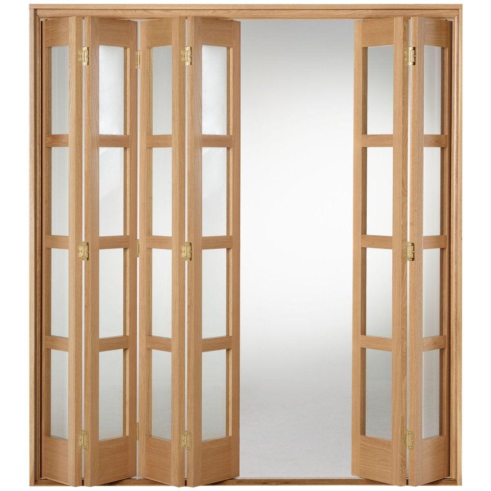 Liberty Doors Internal Oak Fully Finished Shaker Folding Sliding Door Set With Clear Glass Oak
