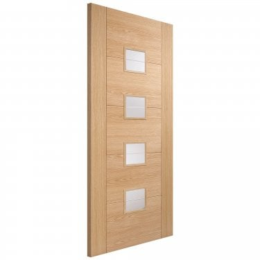 Internal Oak Fully Finished Vancouver 4L Door with Clear Brilliant Cut Glass (FSCOVAN4B)