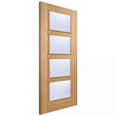 Internal Oak Fully Finished Vancouver 4L Door with Clear Glass (FSCOVAN4L)