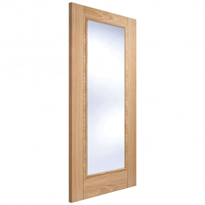 LPD Internal Oak Fully Finished Vancouver Pattern 10 1L FD30 Fire Door with Clear Glass