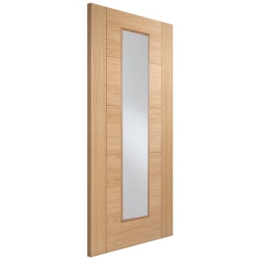 Internal Oak Fully Finished Vancouver Plus 1L FD30 Fire Door with Clear Glass (OVANLLFC)