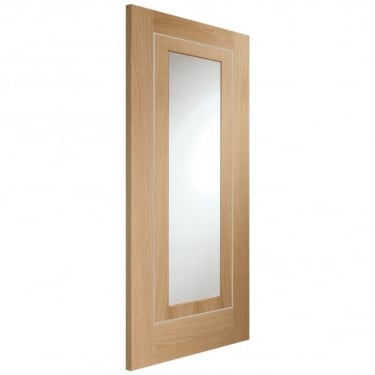 Internal Oak Fully Finished Varese 1L Door with Clear Glass (PFGOVAR)