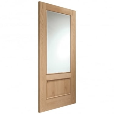 Internal Oak Unfinished Andria 1L Door with Clear Bevelled Glass and Raised Mouldings (GOANDRM)