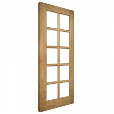 Internal Oak Unfinished Bristol 10L Solid Door with Clear Bevelled Glass (BRUNX)