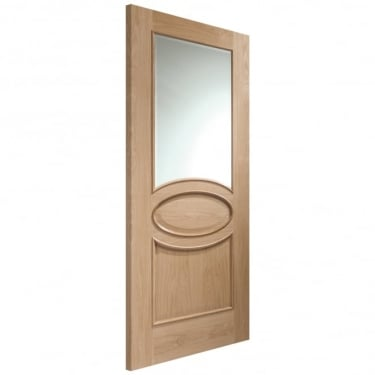 Internal Oak Unfinished Calabria 1L Door with Clear Bevelled Glass (GOCALRM)