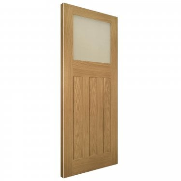 Internal Oak Unfinished Cambridge 1L Solid Door with Obscure Flat Glass (CAMBGUNX)