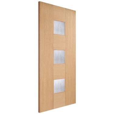 Internal Oak Unfinished Catalonia 3L Door with Linea Toughened Glass (CATOAKGL)