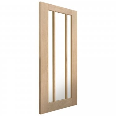 Internal Oak Unfinished Classic Darwen 3L Solid Door with Clear Glass (ODARG)