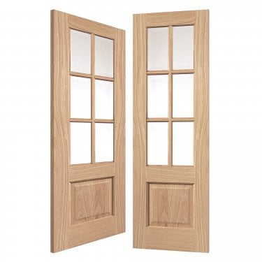 Internal Oak Unfinished Classic Dove 12L Solid Pair Door with Clear Glass (ODOV)