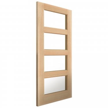 Internal Oak Unfinished Classic Humber 4L Solid Door with Clear Glass (OHUM)