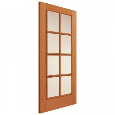 Internal Oak Unfinished Classic Royale 11-8VN 8L Solid Door with Clear Bevelled Glass and Raised Mouldings (UO118V)