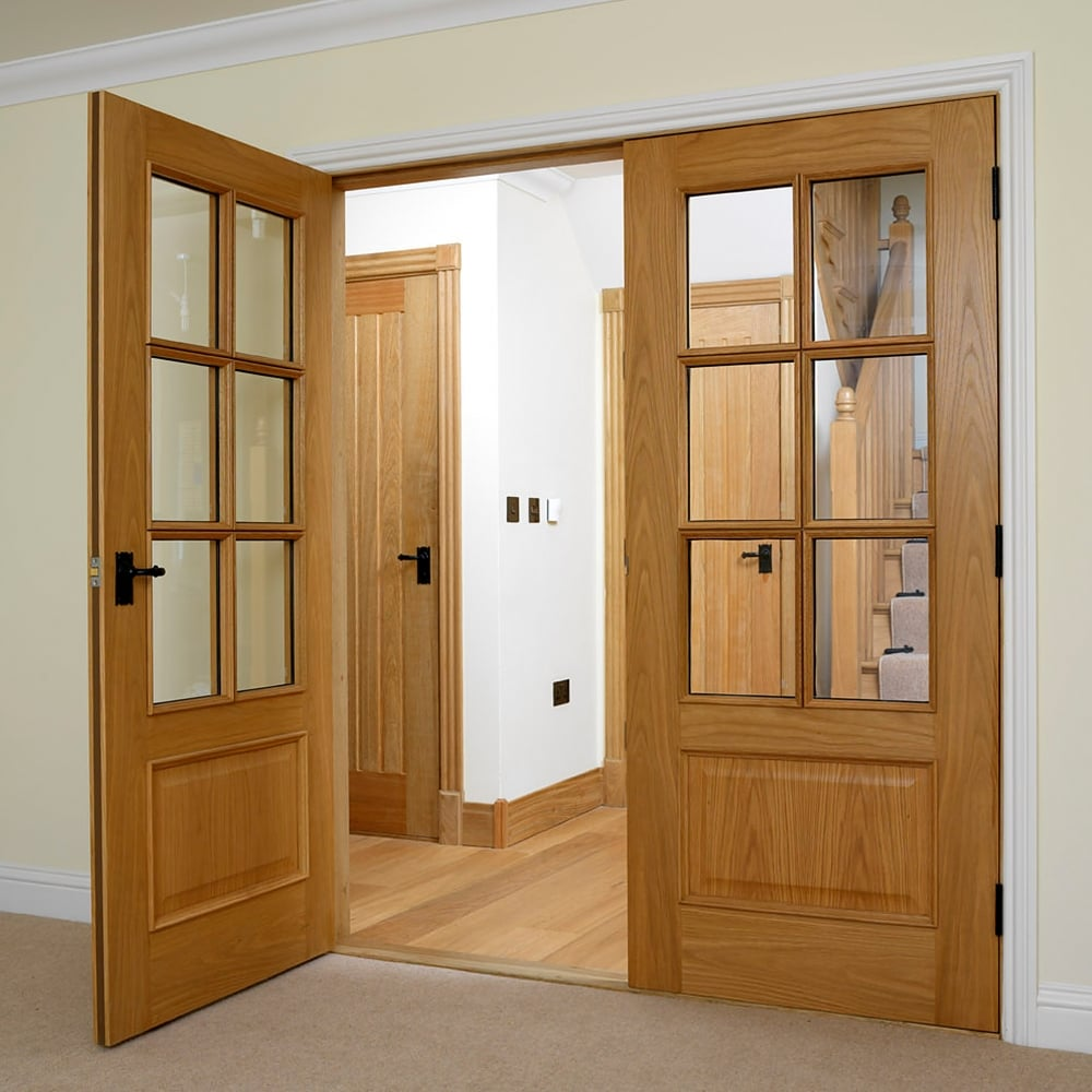 brand new 36ecd b7982 Internal Oak Unfinished Classic Royale 12-6VM 6L Solid FD30 Fire Door with  Clear Bevelled Glass and Raised Mouldings (UO126VMNFD30)