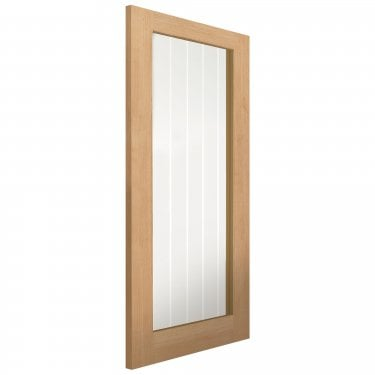 Internal Oak Unfinished Cottage Thames 1L Solid Door with Etched Clear Glass (OTHA1L)
