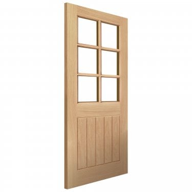 Internal Oak Unfinished Cottage Thames 6L Solid Door with Clear Glass (OTHA6L)