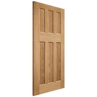 Internal Oak Unfinished DX 60's Style FD30 Fire Door (PPDX60OAKFC)