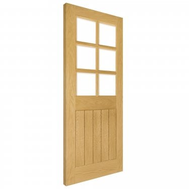 Internal Oak Unfinished Ely 6L Solid Door with Clear Bevelled Glass (HP22GBUNX)