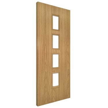 Internal Oak Unfinished Galway 4L Unglazed Solid FD30 Fire Door (GALGF/DUNX)