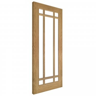 Internal Oak Unfinished Kerry 9L Solid Door with Clear Bevelled Glass (NM5GBUNX)