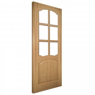 Internal Oak Unfinished Louis 6L Solid Door with Clear Bevelled Glass (LOUISGBUNX)