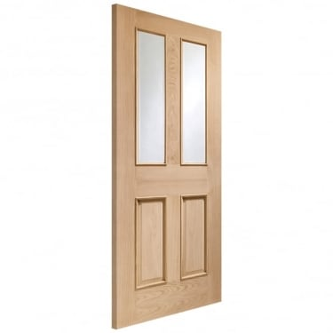 Internal Oak Unfinished Malton 2L Door with Clear Bevelled Glass and Raised Mouldings (GOMALRM)