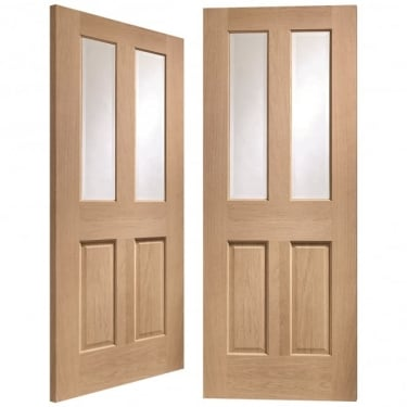 Internal Oak Unfinished Malton 4L Pair Door with Clear Bevelled Glass (GOPMAL)