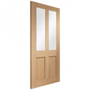 Internal Oak Unfinished Malton Shaker 2L Door with Clear Glass (GOMALSHA)