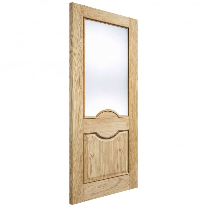 LPD Doors Internal Oak Unfinished Marseille Glazed Door With Frosted Glass