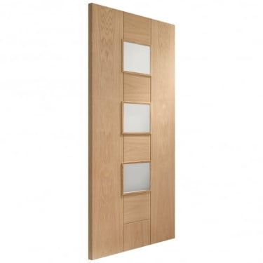 Internal Oak Unfinished Messina 3L Door with Obscure Glass (GOMES)