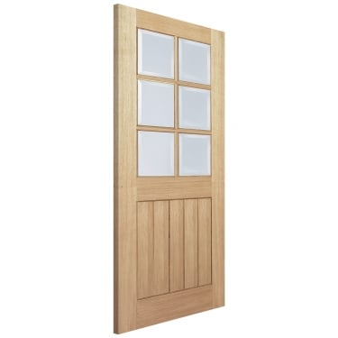 Internal Oak Unfinished Mexicano 6L Door with Clear Bevelled Glass (OMEXCG)