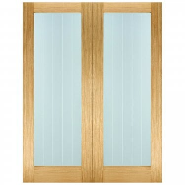 Internal Oak Unfinished Mexicano Pattern 10 2L Pair Door with Frosted Lined Clear Glass (OPRSMEXG)