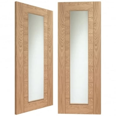 Internal Oak Unfinished Palermo 2L Pair Door with Clear Glass (GOPPAL)