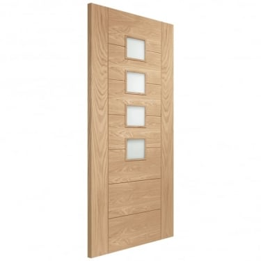 Internal Oak Unfinished Palermo 4L FD30 Fire Door with Obscure Glass