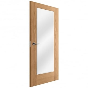 Internal Oak Unfinished Pattern 10 1L Door with Clear Bevelled Glass (IOPAT10CBEV)