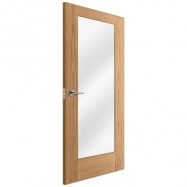 Internal Oak Unfinished Pattern 10 1L Door with Clear Glass (IOPAT10CG)