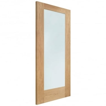 Internal Oak Unfinished Pattern 10 1L FD30 Fire Door with Clear Glass (GOSHAP10C-FD)