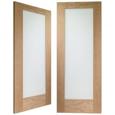 Internal Oak Unfinished Pattern 10 2L Pair Door with Obscure Glass (GOPP10O)