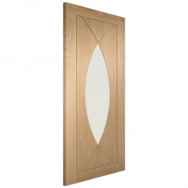 Internal Oak Unfinished Pesaro 1L Door with Clear Glass (GOPES)