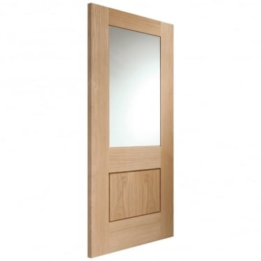 Internal Oak Unfinished Piacenza 1L Door with Clear Glass (GOPIA)