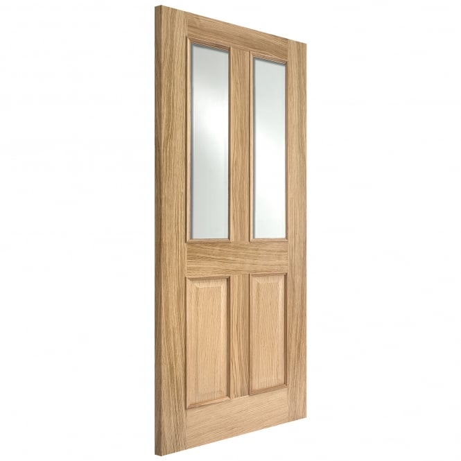 LPD Internal Oak Unfinished Richmond FD30 Fire Door with Clear Bevelled Glass & Raised Mouldings