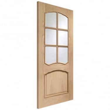 Internal Oak Unfinished Riviera 6L Door with Clear Bevelled Glass and Raised Mouldings (GORIVRM)