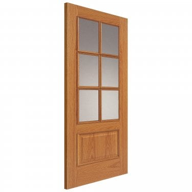 Internal Oak Unfinished Royale Royale 12-6VM 6L Solid Door with Clear Glass and Raised Mouldings (UO126VMN)